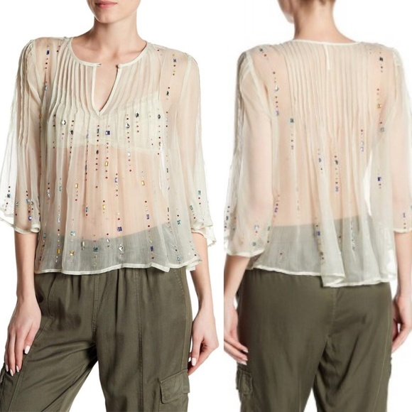 Free People Tops - Free People Sz S Mint green sheer jeweled blouse